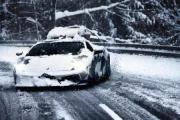 Lambo na śniegu
