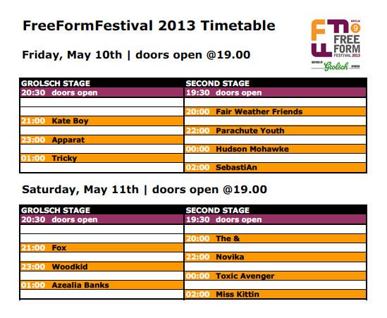 freeformfestival 2013 line up