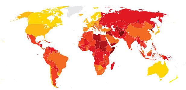 najbardziej skorumpowane kraje