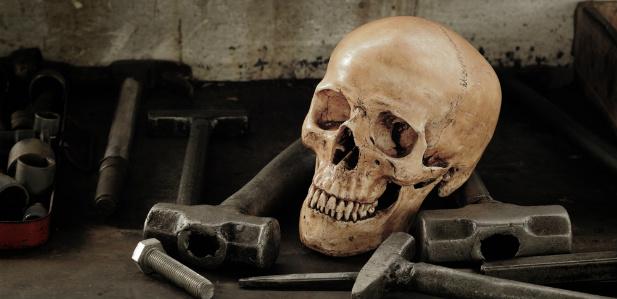 czaszka wśród narzędzi
