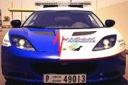 Nowe karetki w Dubaju - sportowe Mustangi i Lotusy Evory
